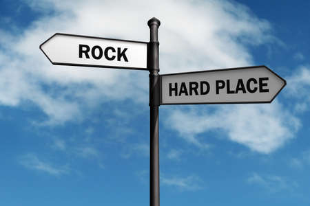 Photo pour Crossroad signpost saying rock and hard place concept for stuck between a rock and a hard place, choice, confusion or decisions - image libre de droit