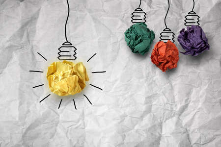 Photo pour Inspiration concept crumpled paper light bulb metaphor for good idea - image libre de droit