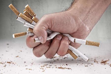 Photo pour Man refusing cigarettes concept for quitting smoking and healthy lifestyle - image libre de droit