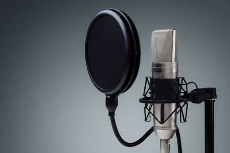 Photo for Studio microphone and pop shield on mic stand against gray background - Royalty Free Image