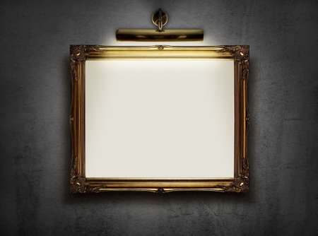 Photo for Picture frame with blank canvas hanging on a wall in an art museum - Royalty Free Image