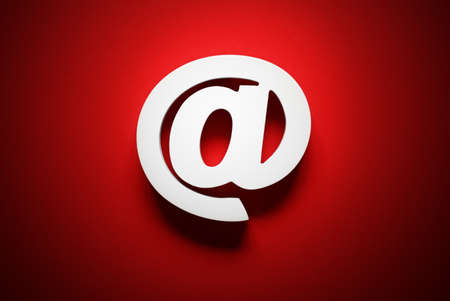 Photo for Email symbol on red background concept for internet, contact and e-mail address - Royalty Free Image