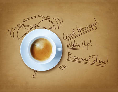 Foto de Good morning coffee and alarm clock concept - Imagen libre de derechos