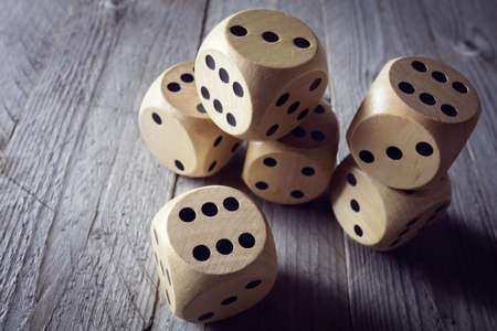 Foto de Rolling the dice concept for business risk, chance, good luck or gambling - Imagen libre de derechos