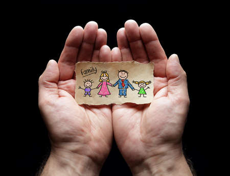 Photo pour Family care with the protection of cupped hands, concept for love, help, assistance, security and caring - image libre de droit
