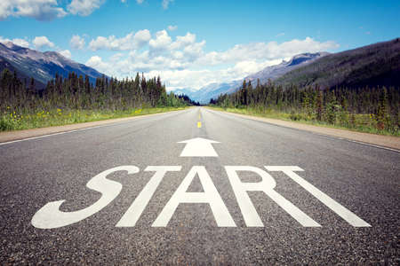 Foto de Start line on the highway concept for business planning, strategy and challenge or career path, opportunity and change - Imagen libre de derechos