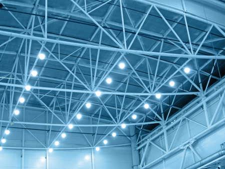Photo pour blue interior warehouse lighting. industrial bulb lamp illumination - image libre de droit