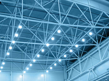 blue interior warehouse lighting. industrial bulb lamp illumination