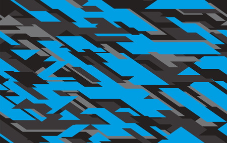 Ilustración de Modern geometric army camo, camouflage clothing background. Vector illustration. Sea water camouflage seamless pattern. Blue and gray camouflage vector - Imagen libre de derechos