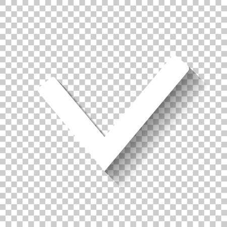 Illustration pour Check mark icon. White icon with shadow on transparent background - image libre de droit