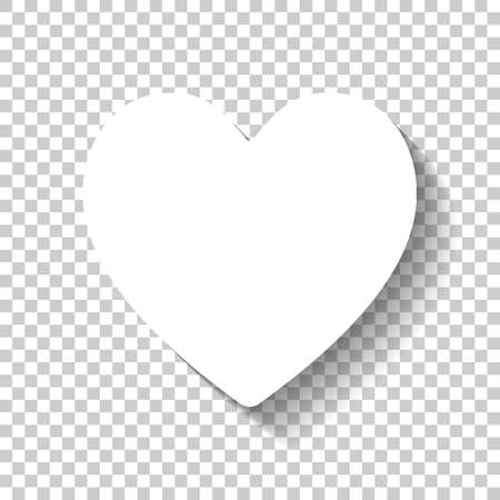 Illustration for Simple heart icon. White icon with shadow on transparent background - Royalty Free Image