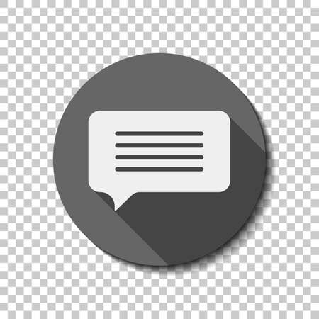 Illustration pour Message cloud icon. White flat icon with long shadow in circle on transparent background - image libre de droit