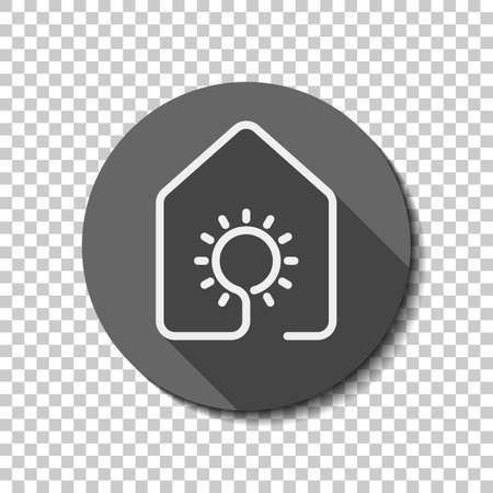 Ilustración de House with sun or light lamp icon. line style. White flat icon with long shadow in circle on transparent background - Imagen libre de derechos