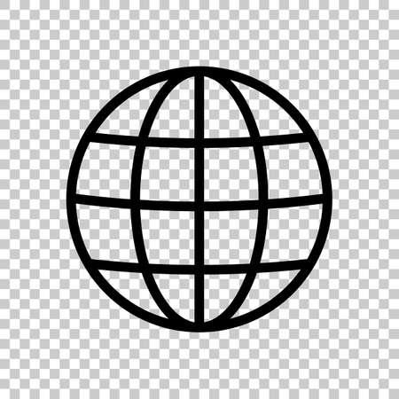 Ilustración de Simple globe icon. Linear, thin outline. On transparent background. - Imagen libre de derechos