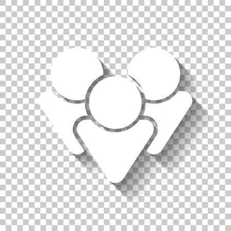 Illustration pour Team group icon. White icon with shadow on transparent background - image libre de droit