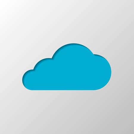 Illustration pour cloud icon. Paper design. Cutted symbol with shadow - image libre de droit