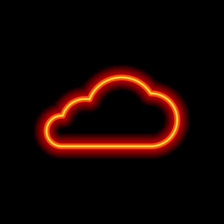 Illustration pour cloud icon. Orange neon style on black background. Light icon - image libre de droit