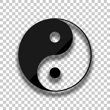 Ilustración de yin yan symbol. Black glass icon with soft shadow on transparent background - Imagen libre de derechos