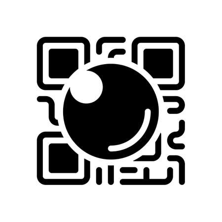 Illustration pour QR scanner, Scan by mobile camera, logo for app, icon with qrcode and lens. Black icon on white background - image libre de droit