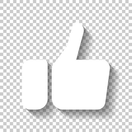 Illustration pour Hand with thumb up, like icon. White icon with shadow on transparent background - image libre de droit