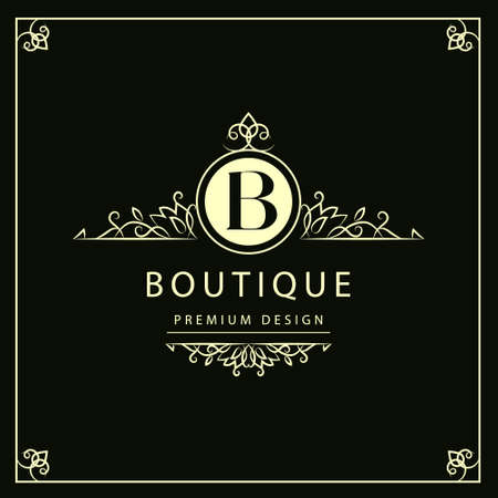 Illustration for Vector illustration of Monogram design elements graceful template. Elegant line art logo design. Business sign identity for Restaurant Royalty Boutique Cafe Hotel Heraldic Jewelry Fashion Wine. - Royalty Free Image