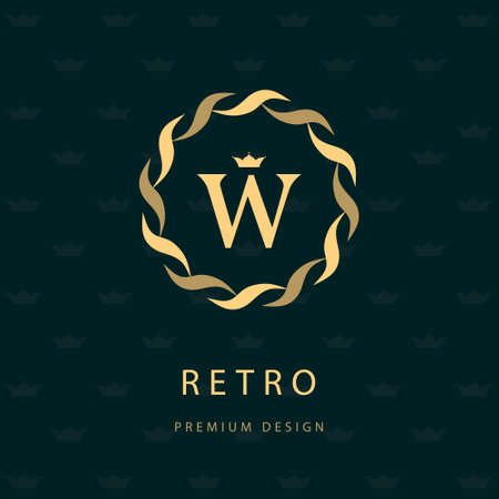 Ilustración de Vector illustration of Monogram design elements, graceful template. Elegant line art icon design. Letter emblem W. Retro Vintage Insignia or icon. Business sign, identity, label, badge, Cafe, Hotel - Imagen libre de derechos