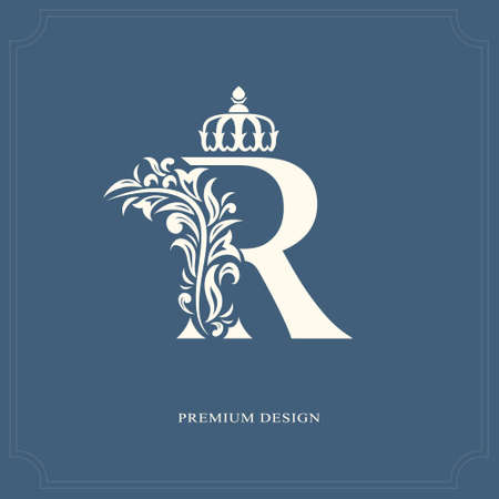 Ilustración de Elegant letter R with a crown. Graceful royal style. Calligraphic beautiful logo. Vintage drawn emblem for book design, brand name, business card, Restaurant, Boutique, Hotel. Vector illustration - Imagen libre de derechos