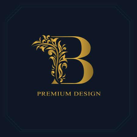 Illustration for Gold Elegant letter B. Graceful style. Calligraphic beautiful logo. Vintage drawn emblem for book design, brand name, business card, Restaurant, Boutique, Hotel. Vector illustration - Royalty Free Image