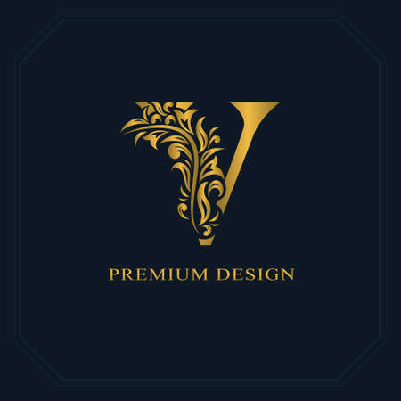 Illustration for Gold Elegant letter V. Graceful style. Calligraphic beautiful logo. Vintage drawn emblem for book design, brand name, business card, Restaurant, Boutique, Hotel. Vector illustration - Royalty Free Image