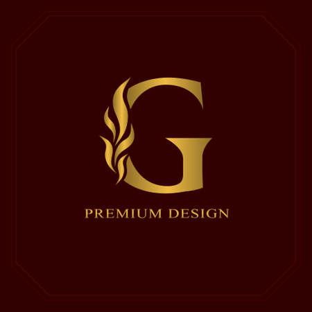 Ilustración de Gold Elegant letter G. Graceful style. Calligraphic beautiful logo. Vintage drawn emblem for book design, brand name, business card, Restaurant, Boutique, Hotel. Vector illustration - Imagen libre de derechos