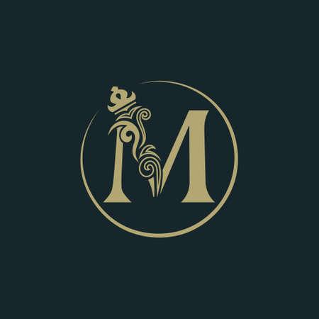 Ilustración de Elegant letter M with crown. Graceful royal style. Calligraphic beautiful round logo. Vintage drawn emblem for book design, brand name, business card, Restaurant, Boutique, Hotel. Vector illustration - Imagen libre de derechos