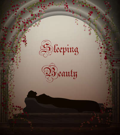 Illustration pour Sleeping beauty fairy tale, sleeping girl silhouette in the castle vector - image libre de droit