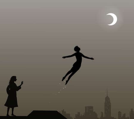 Photo for Peter Pan and Wendy on the roof, peter pan flies, couple, - Royalty Free Image
