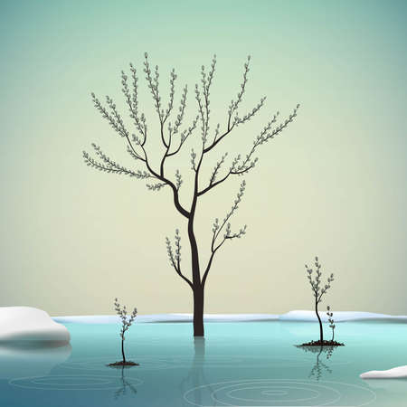 Illustration pour Melting snow and sprout catkin trees in spring clean cold water, spring come, spring nature beauty - image libre de droit