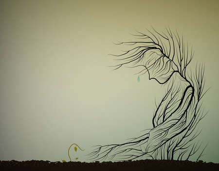 Illustration pour Tree cries because small sprout die, dying forest concept, save the last tree idea, - image libre de droit