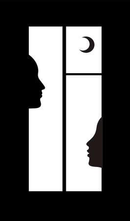Illustration pour night talks concept, two people profile in the window, - image libre de droit