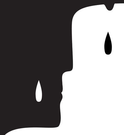Illustration for sorrow concept, grief and cry idea, vector - Royalty Free Image
