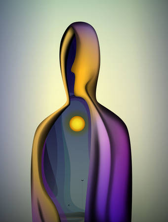 Illustration for inner sun inside the soul, abstract shape of human body with sun inside, inner worlf of human, vector - Royalty Free Image