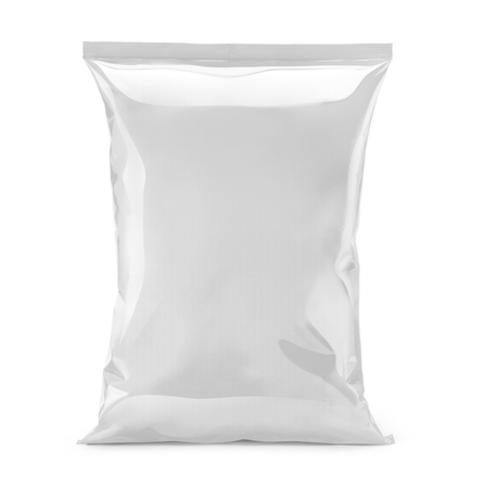 Photo pour blank or white plastic bag snack packaging isolated on white - image libre de droit