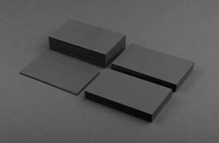 Foto de identity design, corporate templates, company style, black business cards on a black background - Imagen libre de derechos