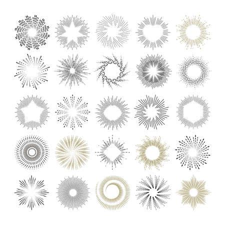 Ilustración de Rays and starburst design elements. Collection of sunburst vintage style elements and icons for label and stickers. Hand drawn sunshine shapes - Imagen libre de derechos