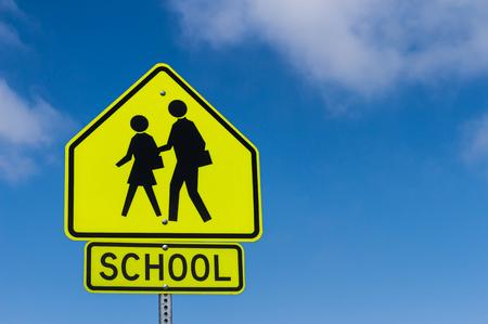 Foto de School Warning Sign with the sky background - Imagen libre de derechos