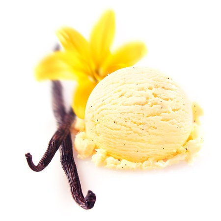 Vanilla pods and flower with a delicious scoop of rich creamy icecream served for a refreshing summer dessert