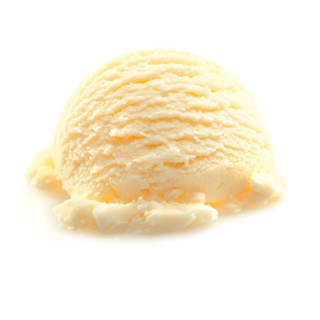 Scoop of yellow Vanilla icecream isolated on white background.