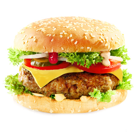 Photo pour Close-up of a tasty hamburger sandwich containing: cooked patties of ground meat, onion, tomatoes, cheese, fresh green salad and pickles - image libre de droit