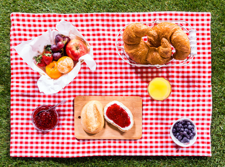 Photo pour Healthy summer picnic laid out on a fresh red and white checked country cloth on green grass with croissants, jam, fresh fruit, butter and blueberries, overhead view - image libre de droit