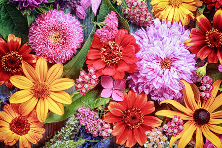 Foto de Festive vibrant floral background with a large arrangement of colorful summer flowers in rainbow colors including dahlias and gerbera daisies for celebrating a special occasion or holiday - Imagen libre de derechos