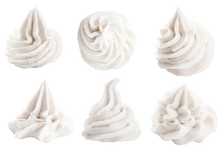 Photo for Set of six different white decorative swirling toppings for dessert isolated on white depicting whipped cream, ice cream or frozen yogurt - Royalty Free Image