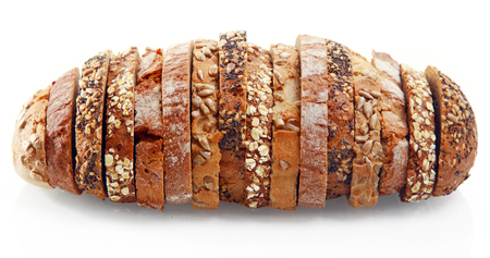 Foto de Close up Assorted Tasty German Bread Slices Formed as One Roll Bread, Isolated on White Background. - Imagen libre de derechos