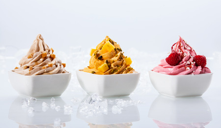 Photo for Assorted Flavor Delicious Frozen Yogurts on Small White Bowls Isolated on White Background - Royalty Free Image